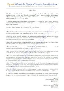 affidavit format for name change in share certificate