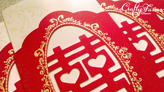 Elegant Chinese Double Happiness Wedding Cards