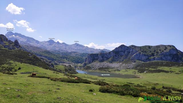 Vista del Lago Ercina, Torre de Santa María de Enol, Requexón y Cotalba