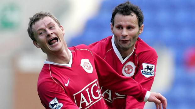 Solskjaer and Giggs during their playing days