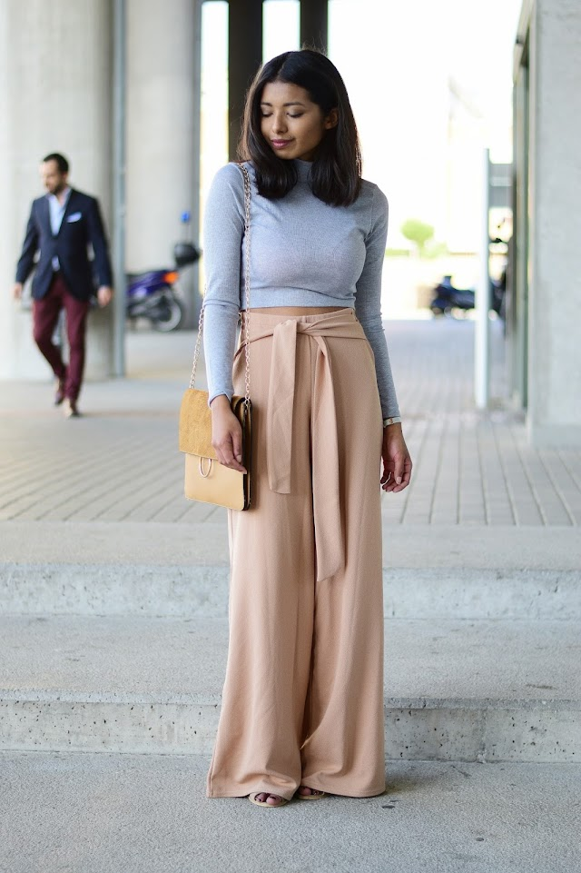 Wide leg trousers and turtleneck crop top