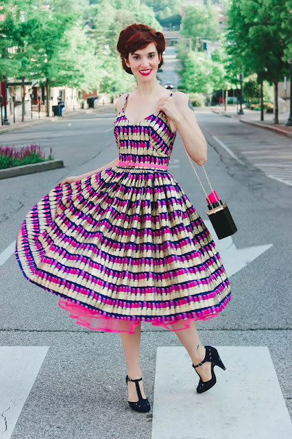 Ashley Dress in Blue Lipstick Print from Bernie Dexter Dress Review