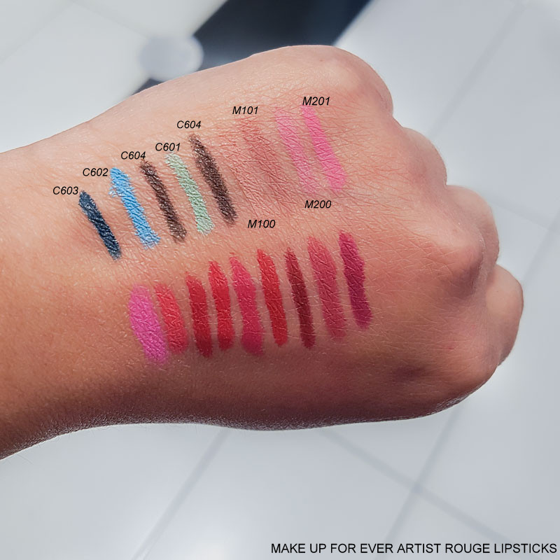 Make Up For Ever Artist Rouge Lipsticks - Swatches  C603 - C602 - C604 - C601 - C604 - M100 - M101 - M200 - M201