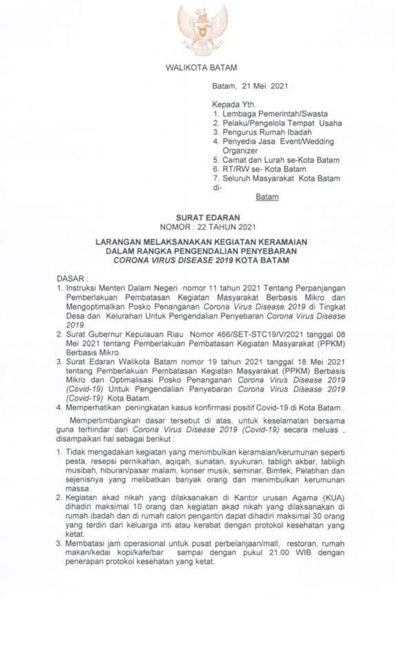 Ini Surat Edaran Walikota Batam Mengenai Larangan Melakukan Kegiatan Keramaian Untuk Mencegah Penyebaran Covid-19
