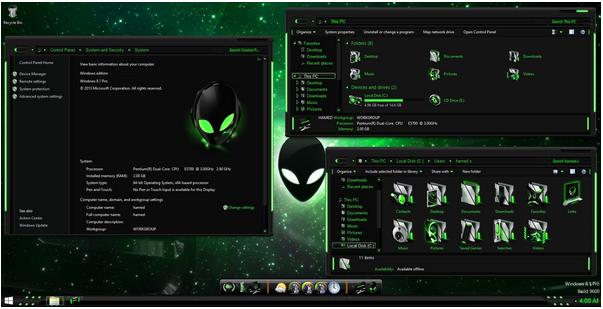 Download AlienGreen Skin Pack - Windows 715