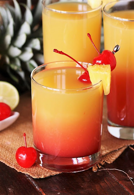 Layered Pineapple Upside-Down Cocktail Image