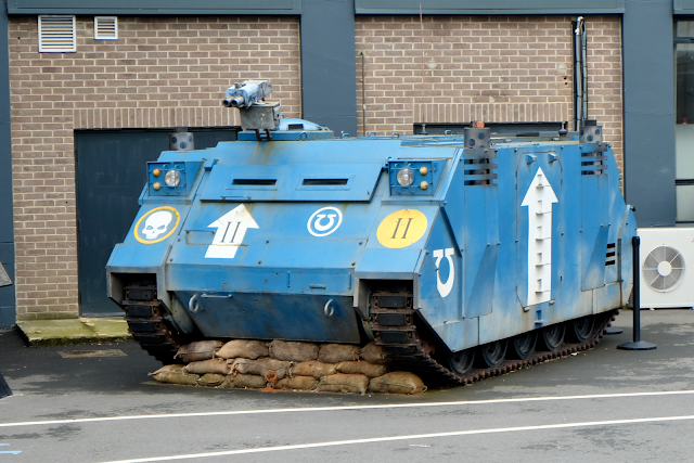 Ultramarines Rhino Tank in the parking lot