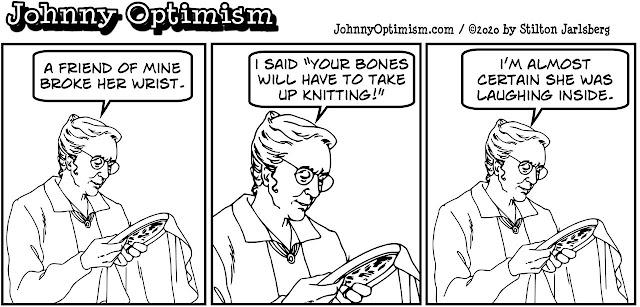 johnny optimism, medical, humor, sick, jokes, boy, wheelchair, doctors, hospital, stilton jarlsberg, embroidery lady, wrist, broken bones, knitting, bone