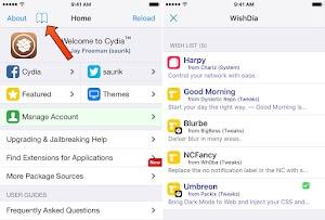 اداة WishDia جلبريك 13.5 IOS لاضافة ايقونة دفتر الى السيديا