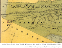 Detail, 'Map & Profile of the Virginia & Tennessee Rail Road' by William Willis Blackford (1856). Retrieved 2021 from Geography and Map Division, Library of Congress.