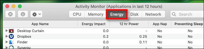 """في مراقب النشاط على Mac ، انقر فوق علامة التبويب """"الطاقة""""."""