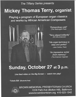 Mickey Thomas Terry: BALTIMORE RECITAL-Brown Memorial Presbyterian Church