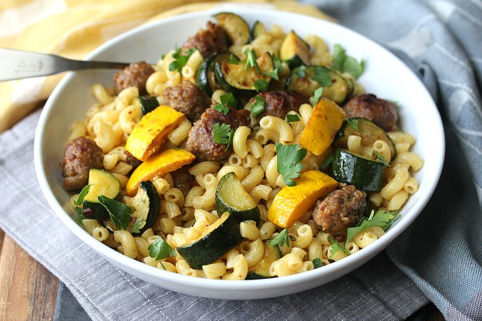 Zucchini, Summer Squash, and Sausage Pasta