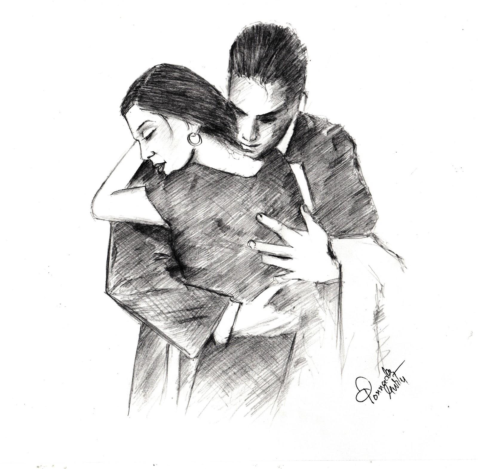 The hug pencil sketch