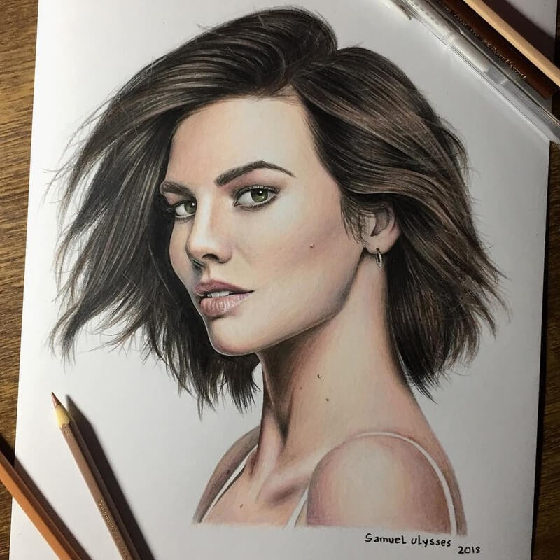 10-Lauren-Cohan-Samuel-Ulysses-Celebrity-Portraits-in-Pencil-www-designstack-co