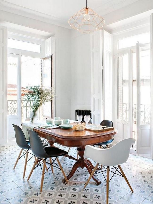un nuevo ejemplo de esos comedores modernos pequeos que tienen estilo vintage como puedes ver el suelo es de baldosas con cenefas una mesa vintage y