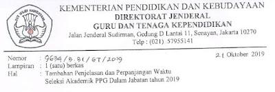 Tambahan Penjelasan dan Perpanjangan Waktu Seleksi Akademik PPG Dalam Jabatan Tahun 2019