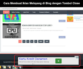 Cara Membuat Iklan Melayang di Blog dengan Tombol Close