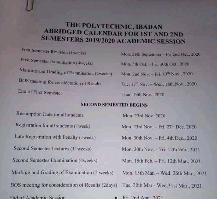 Poly Ibadan Academic Calendar Schedule 2019/2020