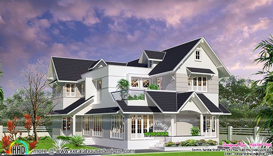 Colonial touch modern home plan