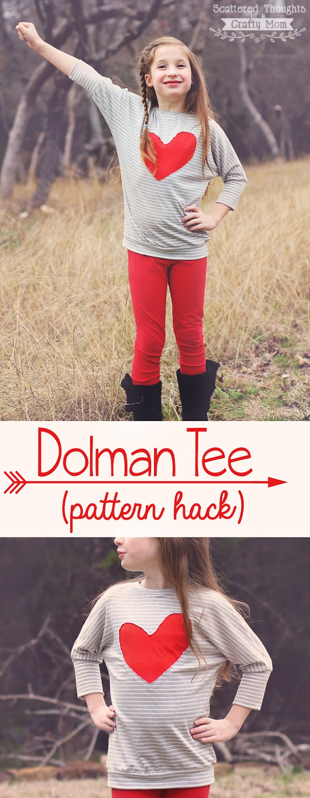 Hack that Pattern! See how to make this adorable Dolman Style Top using my free Tie front Knit Top Pattern. (And if the pattern is not in your size, it is almost easier to make your own pattern.)