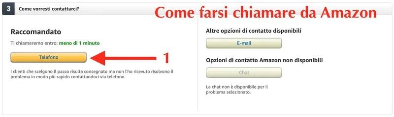 schermata sito amazon dalla quale farsi chiamare da un operatore del servizio clienti amazon italia