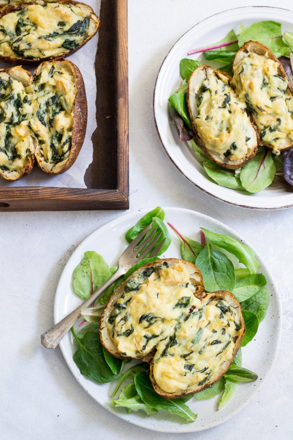 Spinach Artichoke Twice Baked Potatoes For Healthy Breakfast #easyrecipe #vegan