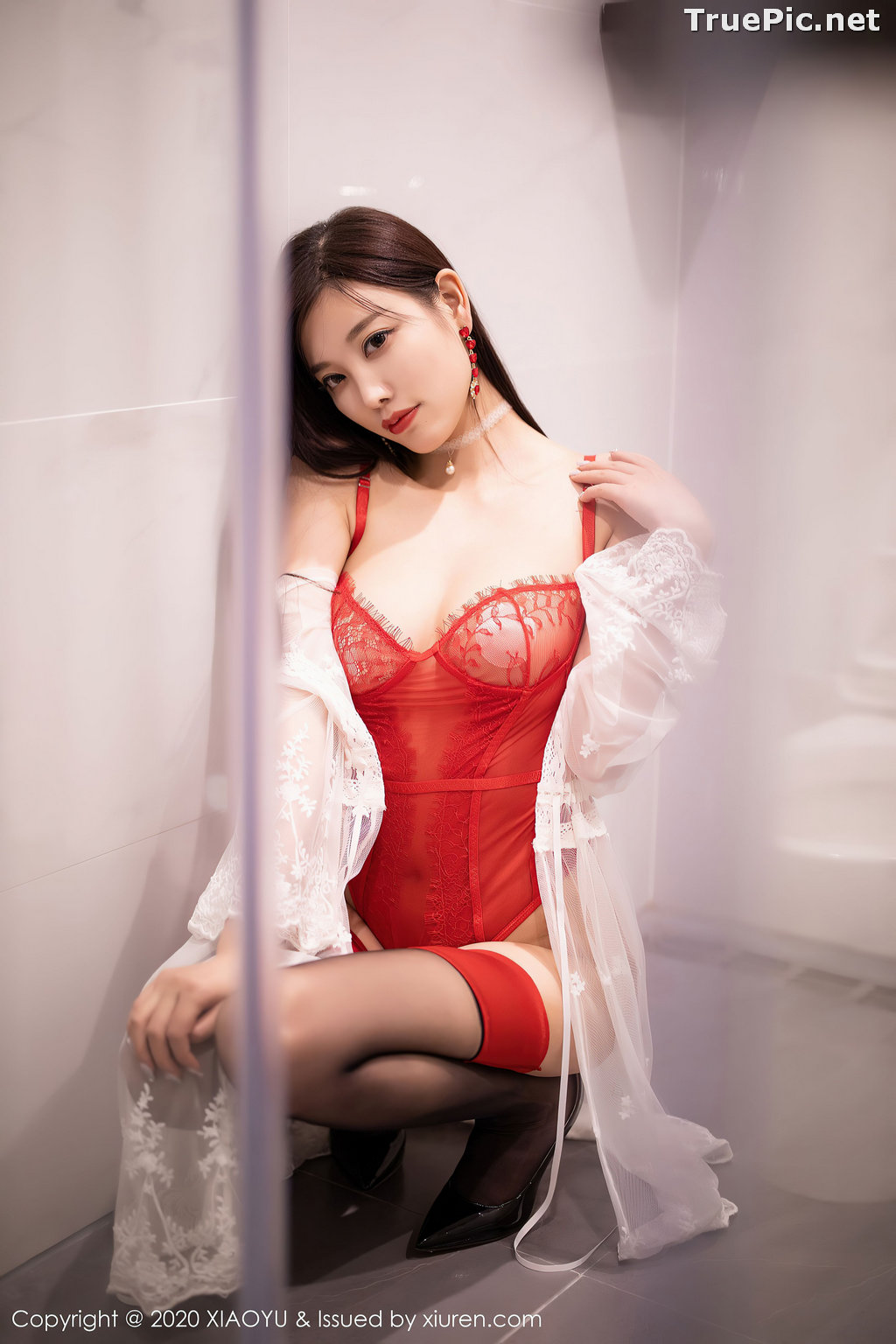 Image XiaoYu Vol.413 - Chinese Model - Yang Chen Chen (杨晨晨sugar)- Red Crystal-clear Lingerie - TruePic.net - Picture-8