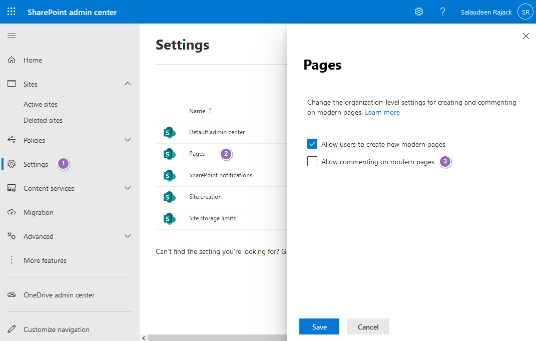 sharepoint online turn off page comments