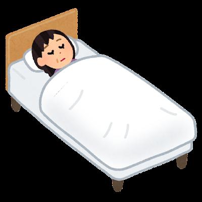 ベッドで寝る人のイラスト(中年女性)