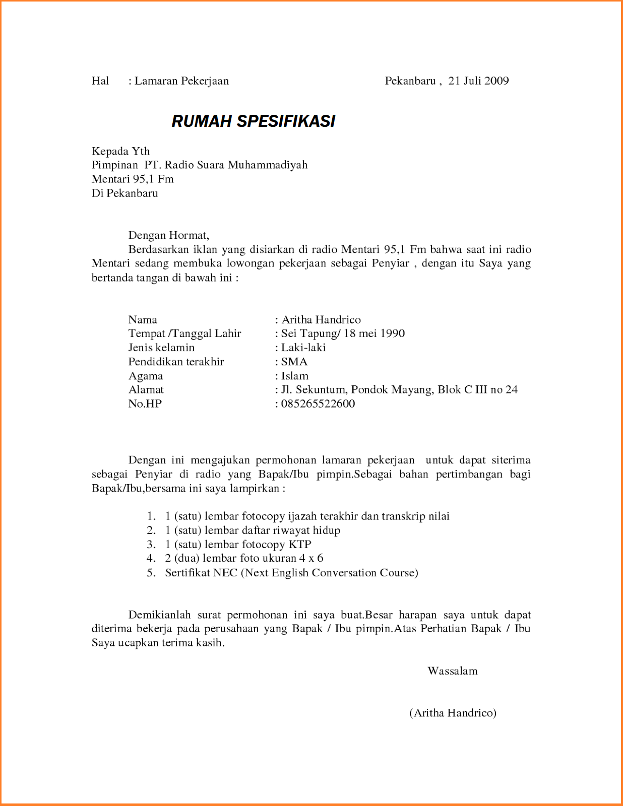 Format Surat Lamaran Kerja Umum Altin Northeastfitness Co