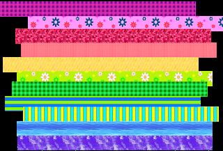 Fläche beklebt mit bunten Washi-Tape-Streifen