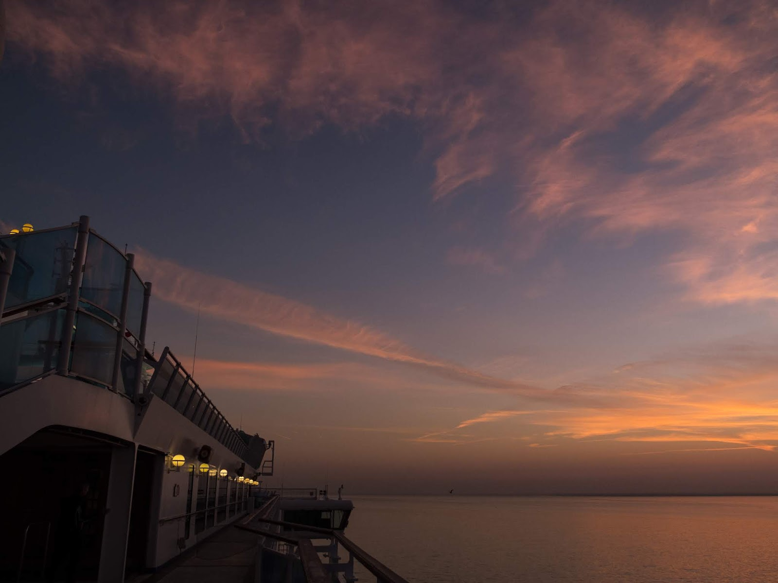 Sunrise clouds captured from a cruise ship in Lisbon.