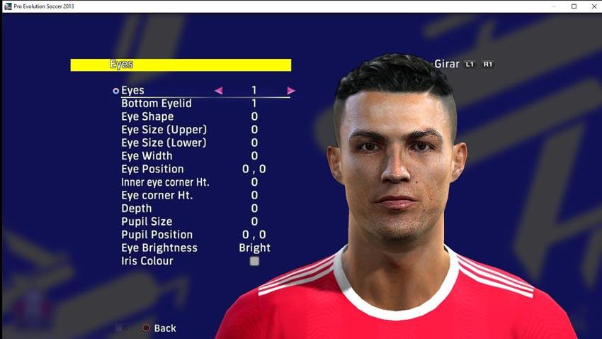 Faces Cristiano Ronaldo (Manchester United) For PES 2013