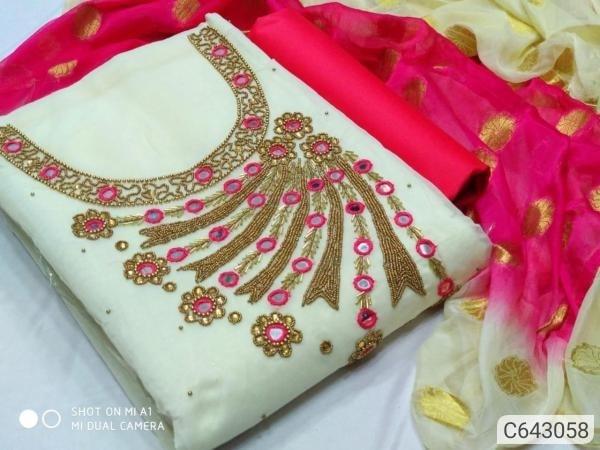 Trendy Heavy Chandri Hand And Moti Work Dress Materials