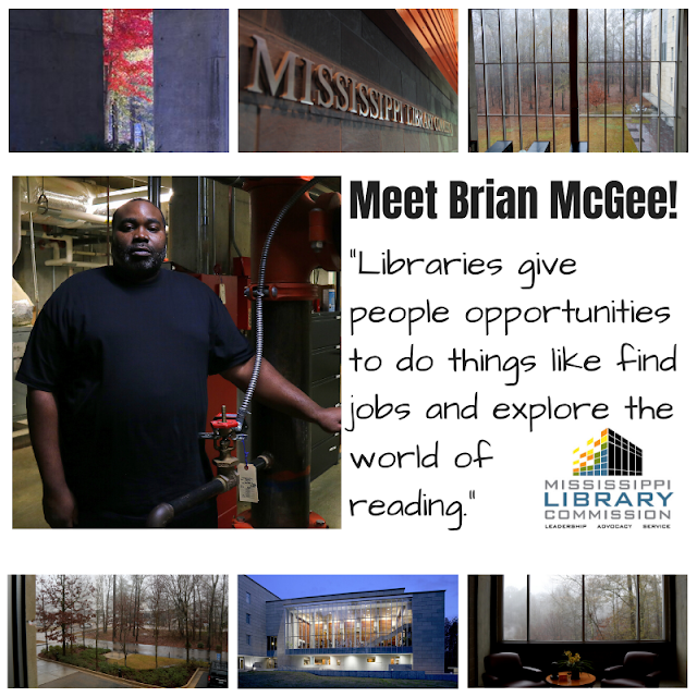 center left an african american man stands next to some sort of equipment center right text says meet brian mcgee Libraries give people opportunities to do things like find jobs and explore the world of reading 3 small pictures of MLC grounds are at top and bottom