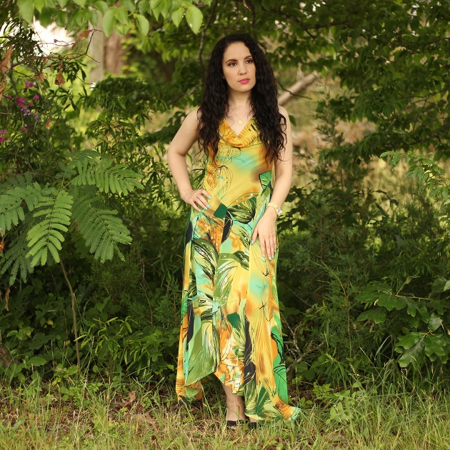 Yellow and Green Print Dress