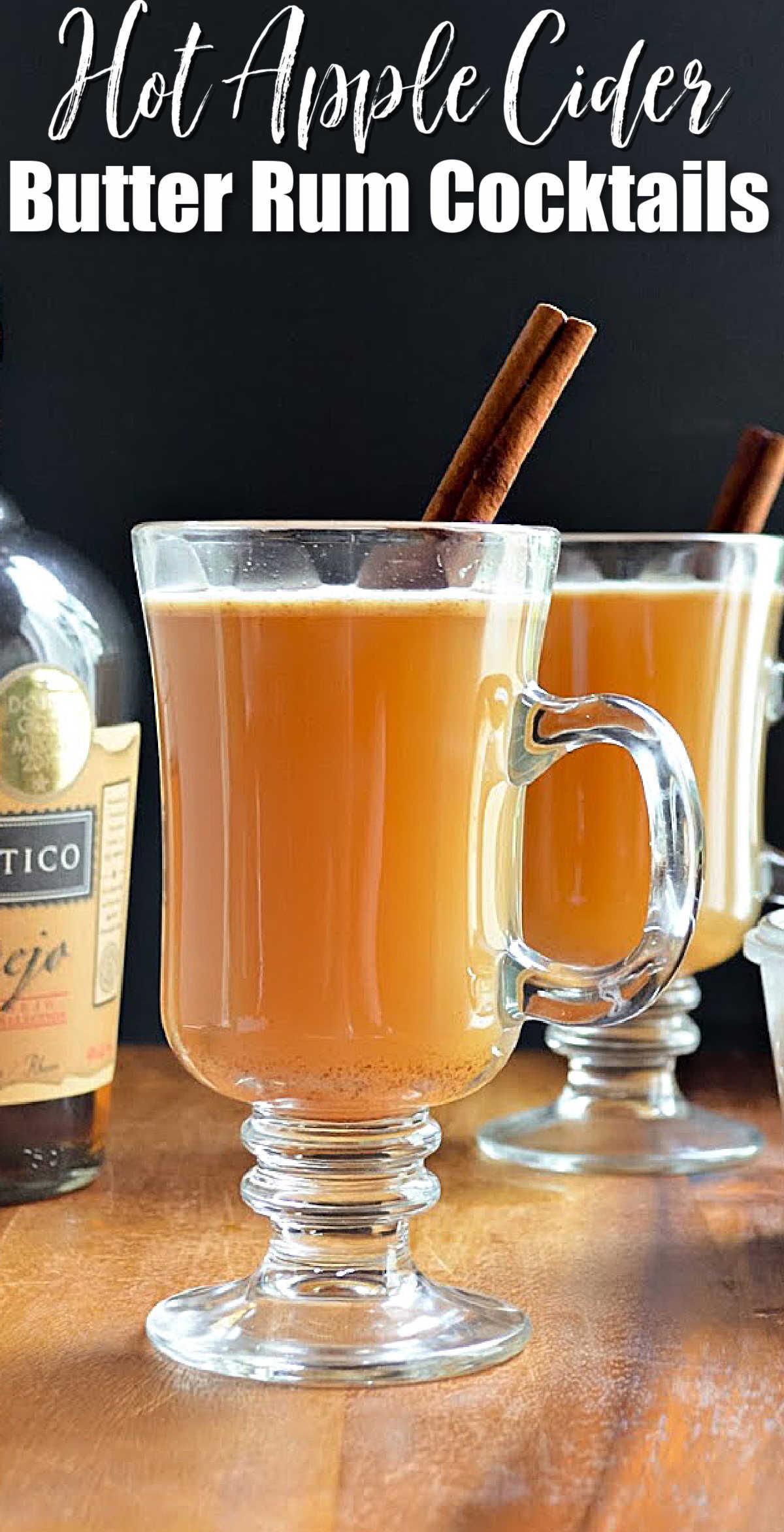 Hot Apple Cider Buttered Rum Cocktails