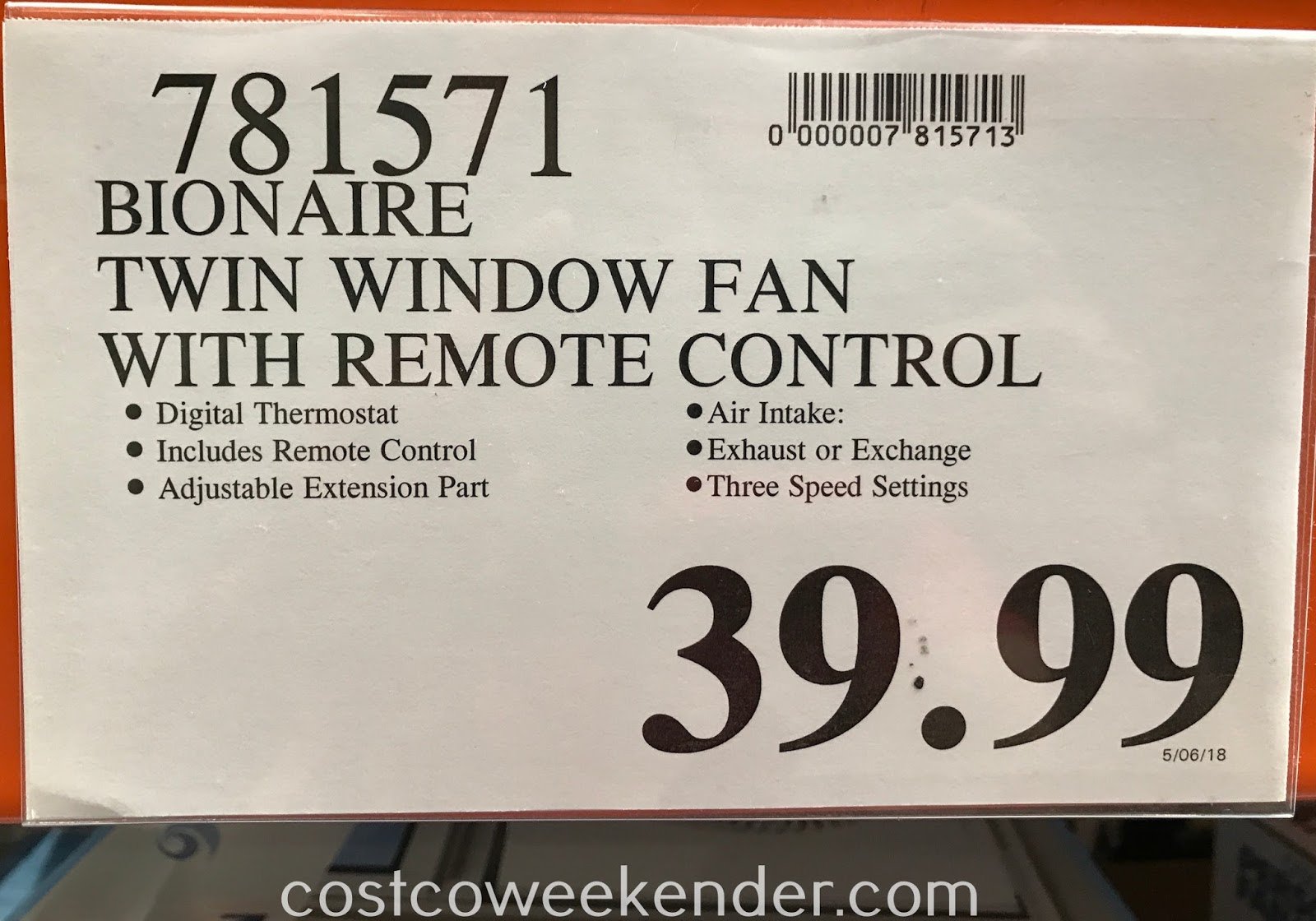 Deal for the Bionaire Digital Twin Window Fan at Costco