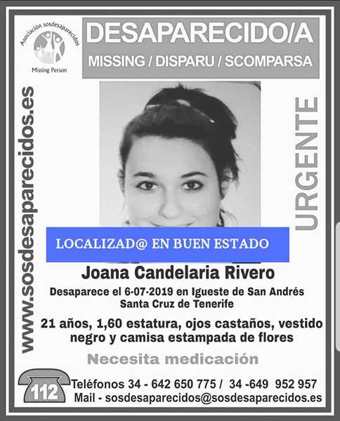 La joven Joana Candelaria Rivero, desaparecida en Igueste de San Andrés (Anaga), Tenerife, localizada en buen estado
