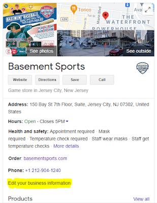 Basement Sports Google My Business Profile