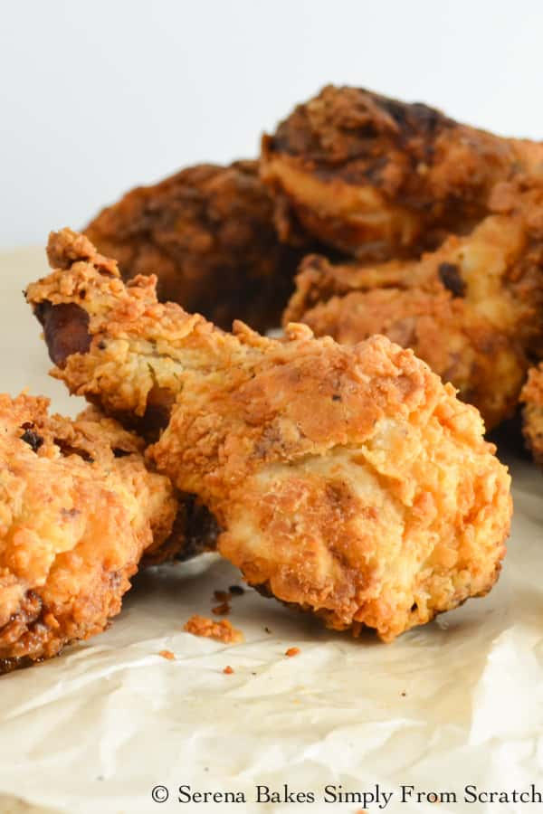 Extra Crispy Fried Chicken recipe is brined in seasoned buttermilk and coated with a flavorful extra crispy coating to keep the meat juicy with an extra crispy outside from Serena Bakes Simply From Scratch.