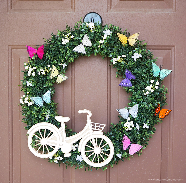 Bicycle & Butterfly Wreath