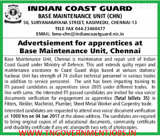 Apprentices Opportunity in Indian Coast Guard Chennai for ITI Trade Certificate holders in Chennai - Selections through walk in interview on 4th January, 2017