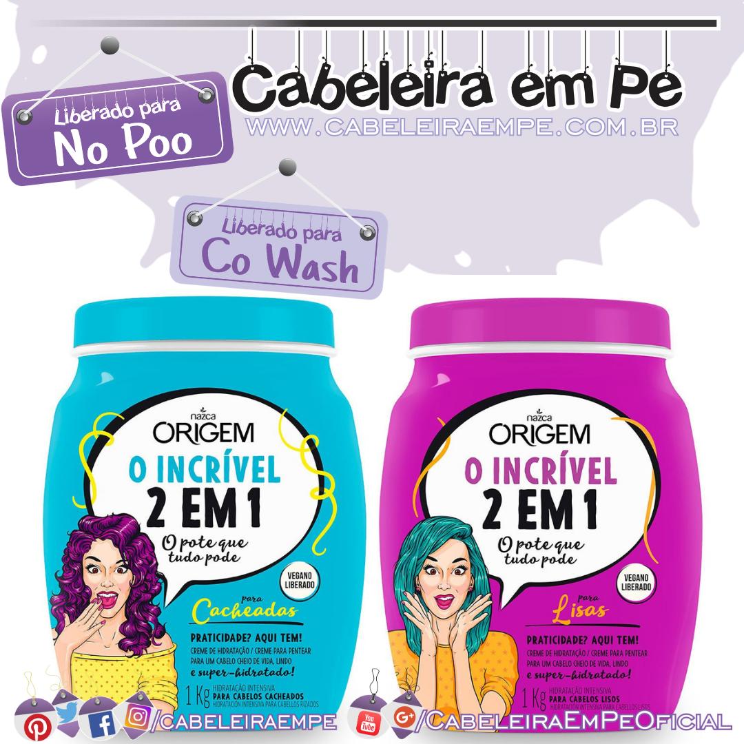 Creme de Hidratação e Creme para Pentear O Incrível 2 em 1 (Lisos e Cacheados) - Origem (Low Poo, No Poo e Co Wash)