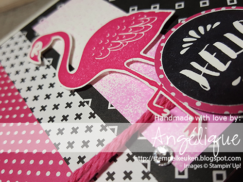 http://stempelkeuken.blogspot.com/2016/07/stampin-up-pop-of-paradise-dag-2.html Stempelkeuken, Pop of Paradise, Pop of Pink DSP, Whisper White Thick Cardstock, Melon Mambo, Archival Basic Black,