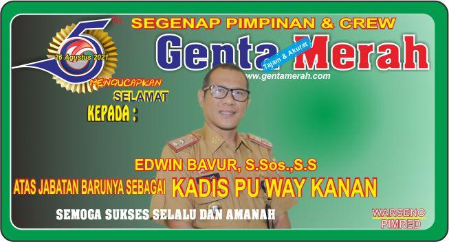 Pimpinan & Crew Genta Merah Mengucapkan Selamat Kepada Bp Edwin Bavur