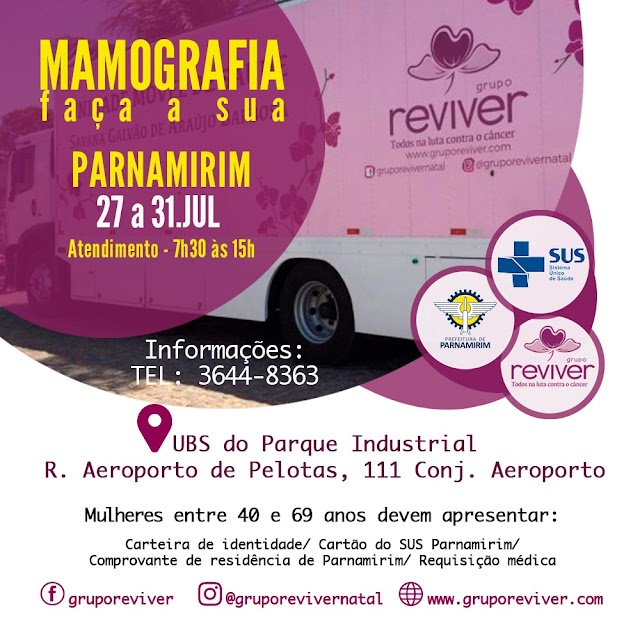 Mutirão de mamografias do Grupo Reviver segue em Parnamirim