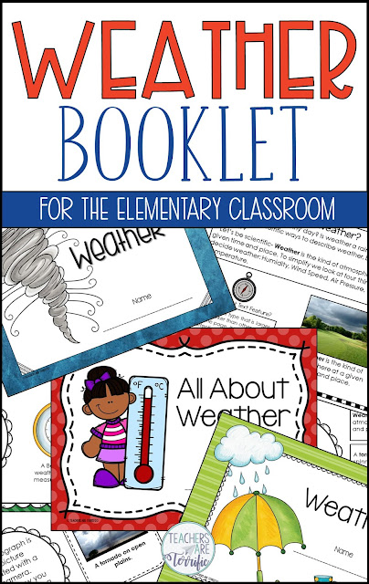 Students read about a weather topic, write about it, complete a text feature related activity, use a table of contents and glossary, and add to their work with decorations and illustrations. In the end, they have a Weather Booklet! Best of all, they will have practiced using nonfiction text features in an authentic, fun format! #teachersareterrific