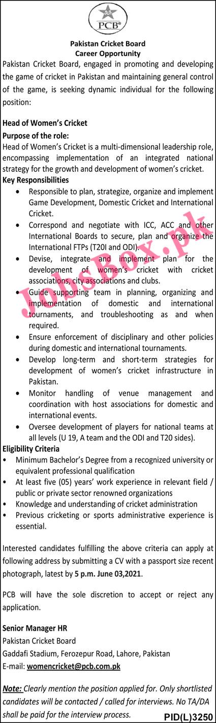 Pakistan Cricket Board PCB Jobs Advertisement 2021